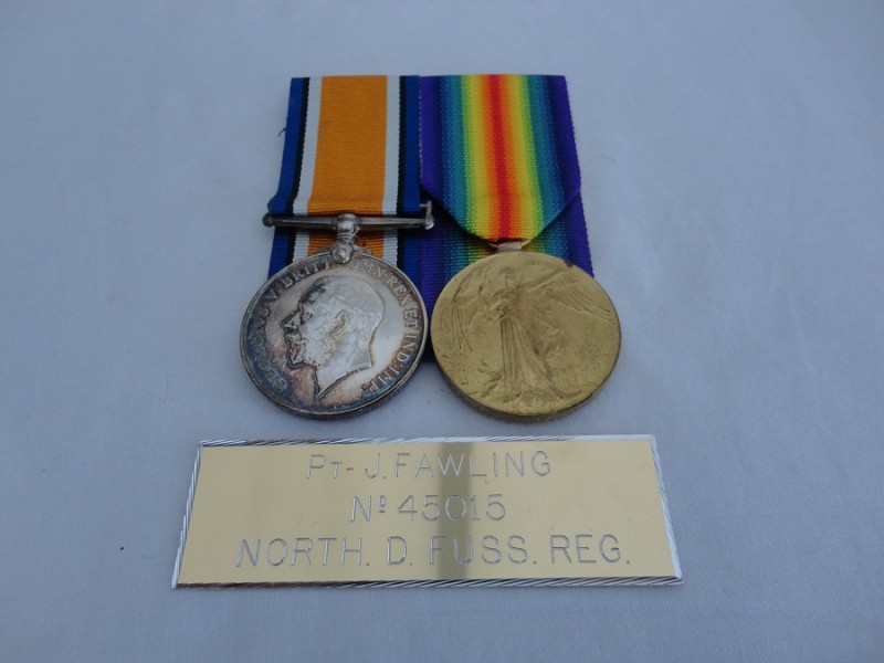 WW1 Northumberland Fusiliers Medal Pair