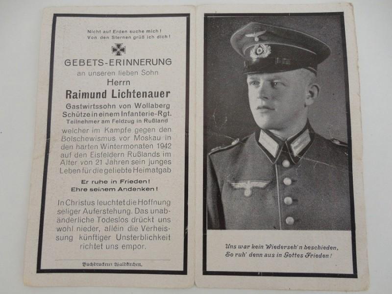 WW2 German Death Card Lichtenauer